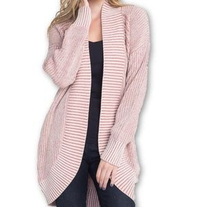 Marcelle Margaux Mauve Ribbed Knit Cardigan Large